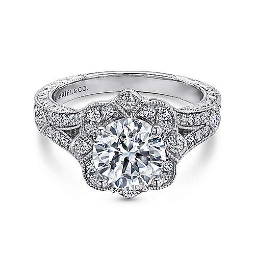 Gabriel - Nolita 14k White Gold Round Halo Engagement Ring