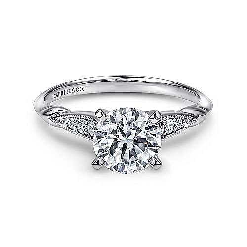 Gabriel - Nora 14k White Gold Round Straight Engagement Ring