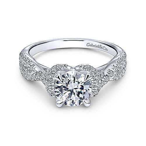 Gabriel - Nori 14k White Gold Round Twisted Engagement Ring