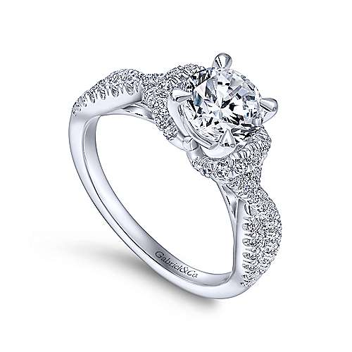 Nori 14k White Gold Round Twisted Engagement Ring angle 3