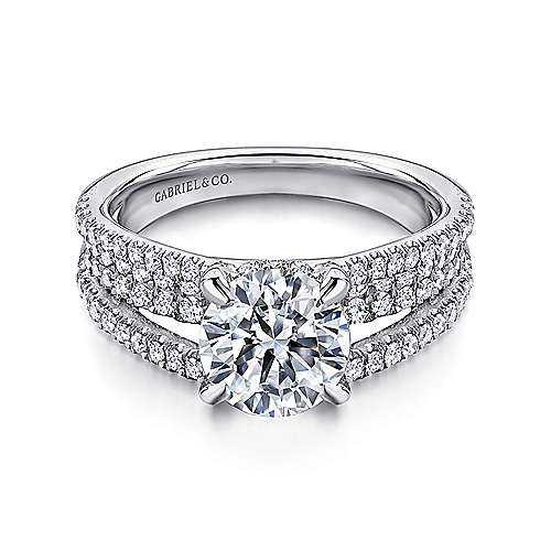 Gabriel - Norma 18k White Gold Round Straight Engagement Ring