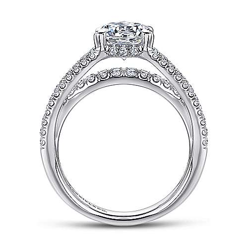 Norma 18k White Gold Round Straight Engagement Ring angle 2
