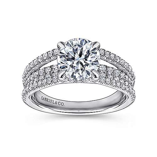 Norma 18k White Gold Round Straight Engagement Ring