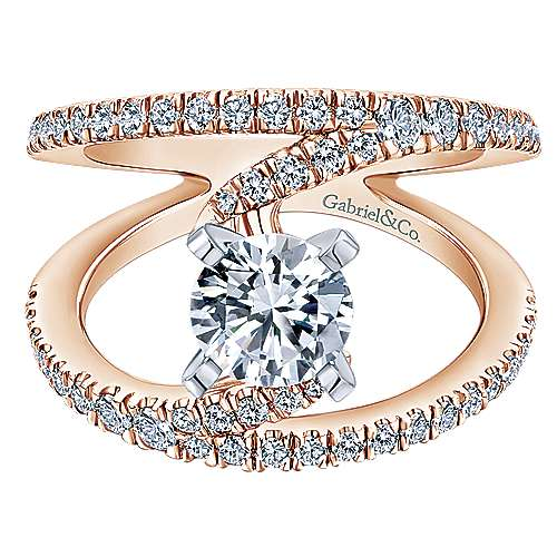 Nova 14k White And Rose Gold Round Split Shank Engagement Ring angle 1