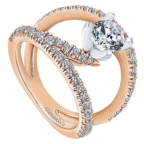 Nova 14k White And Rose Gold Round Split Shank Engagement Ring angle 3