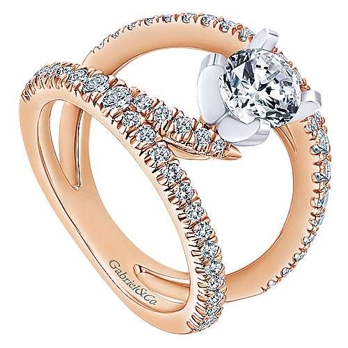 Nova 14k White And Rose Gold Round Split Shank Engagement Ring