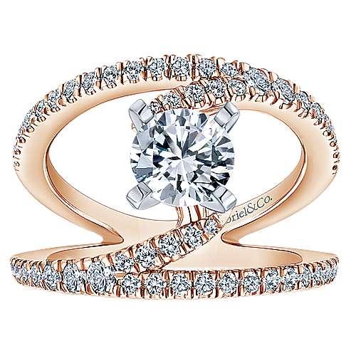 Nova 14k White And Rose Gold Round Split Shank Engagement Ring angle 5