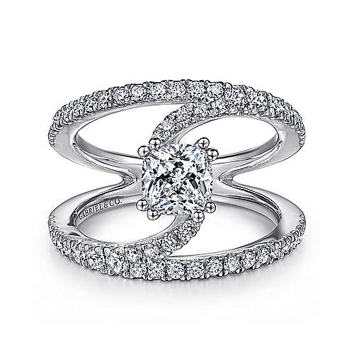 Gabriel - Nova 14k White Gold Cushion Cut Split Shank Engagement Ring