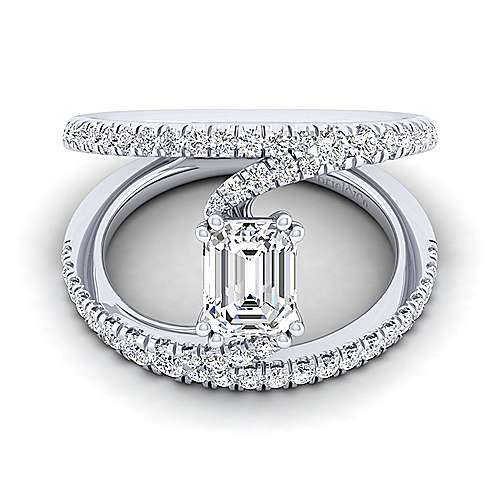 Gabriel - Nova 14k White Gold Emerald Cut Split Shank Engagement Ring