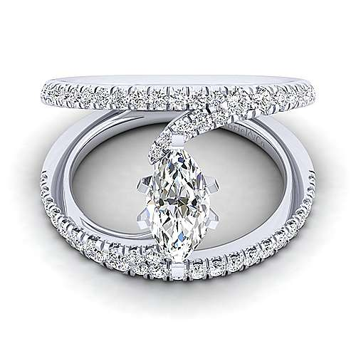 Gabriel - Nova 14k White Gold Marquise  Split Shank Engagement Ring