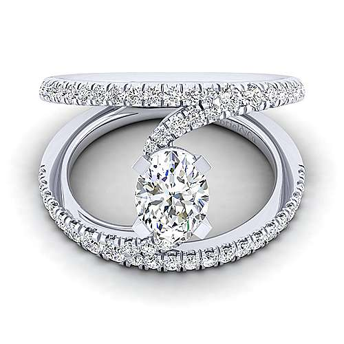 Gabriel - Nova 14k White Gold Oval Split Shank Engagement Ring