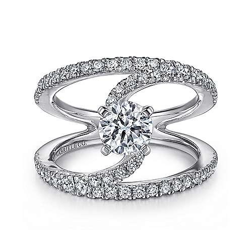 Gabriel - Nova 14k White Gold Round Split Shank Engagement Ring