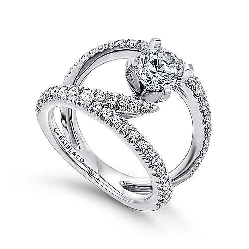 Nova 14k White Gold Round Split Shank Engagement Ring