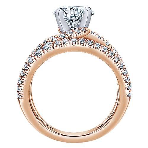 Nova 14k White/pink Gold Round Split Shank Engagement Ring angle 2