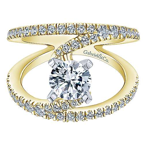 Nova 14k Yellow And White Gold Round Split Shank Engagement Ring angle 1