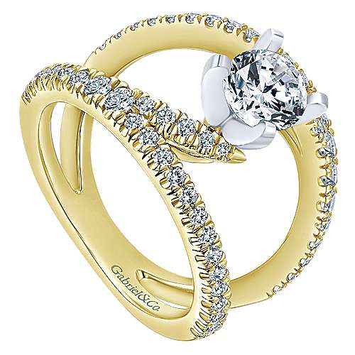 Nova 14k Yellow And White Gold Round Split Shank Engagement Ring angle 3