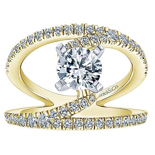 Nova 14k Yellow And White Gold Round Split Shank Engagement Ring angle 5