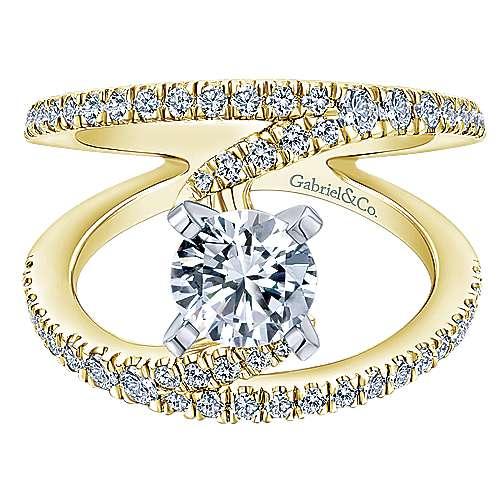 Gabriel - Nova 14k Yellow/white Gold Round Split Shank Engagement Ring