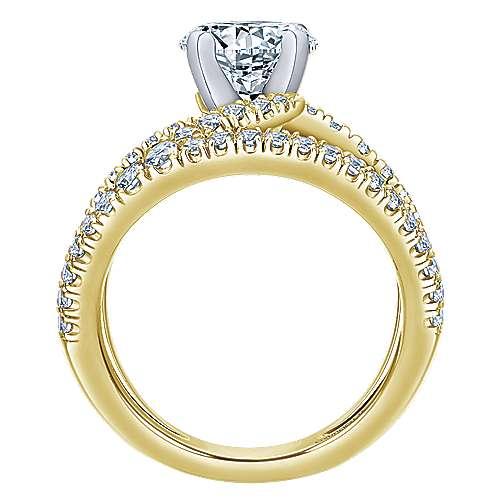 Nova 14k Yellow/white Gold Round Split Shank Engagement Ring angle 2