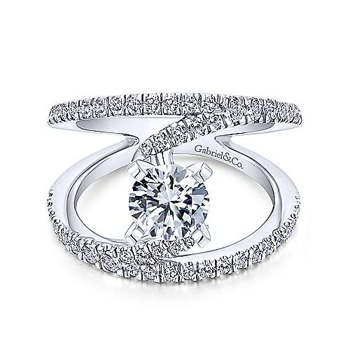 Gabriel - Nova 18k White Gold Round Split Shank Engagement Ring