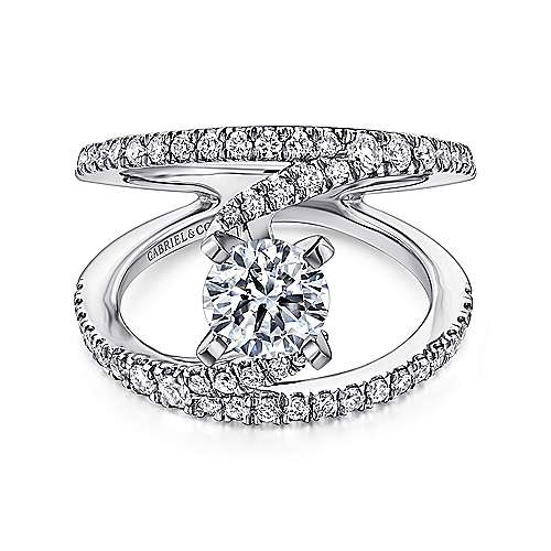 Gabriel - Nova Platinum Round Split Shank Engagement Ring