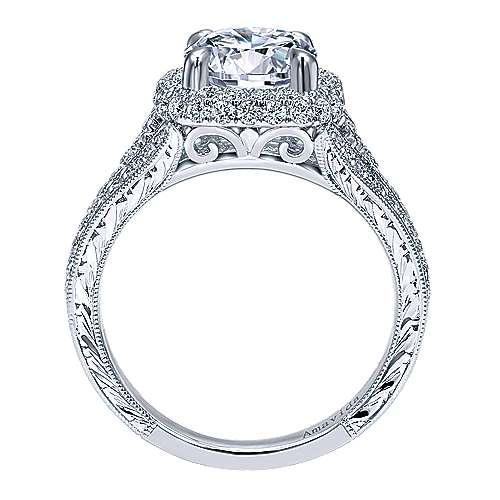 November 18k White Gold Round Halo Engagement Ring angle 2