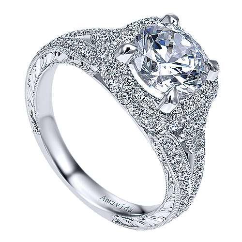 November 18k White Gold Round Halo Engagement Ring angle 3