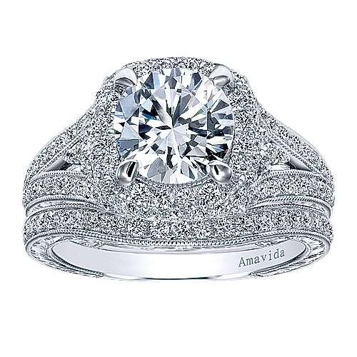 November 18k White Gold Round Halo Engagement Ring angle 4