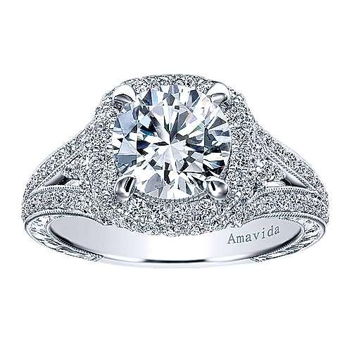 November 18k White Gold Round Halo Engagement Ring angle 5
