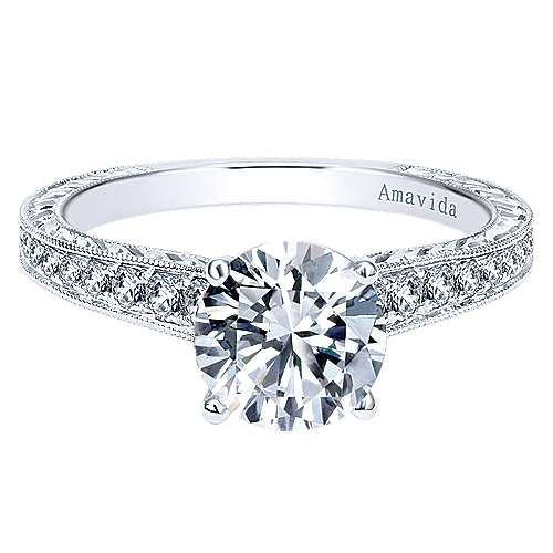 Nurture 18k White Gold Round Straight Engagement Ring