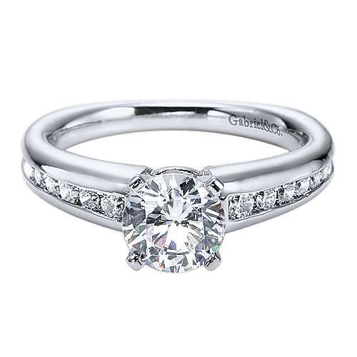 Gabriel - Nyla 14k White Gold Round Straight Engagement Ring
