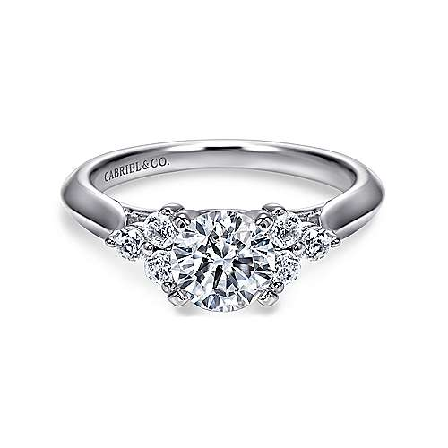 Gabriel - Nymeria 14k White Gold Round 3 Stones Engagement Ring