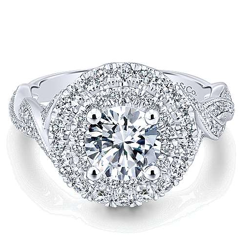 Gabriel - Nymphea 14k White Gold Round Double Halo Engagement Ring