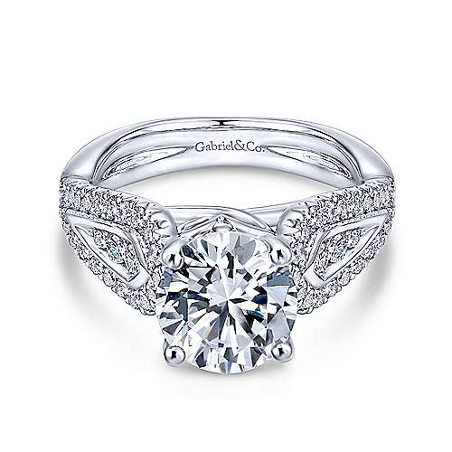 Gabriel - Nyvia 14k White Gold Round Straight Engagement Ring