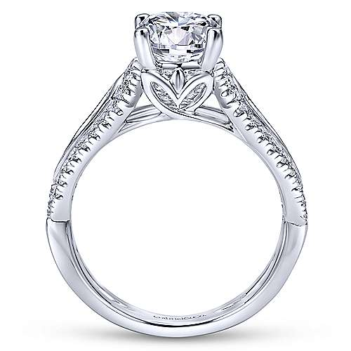 Nyvia 14k White Gold Round Straight Engagement Ring angle 2