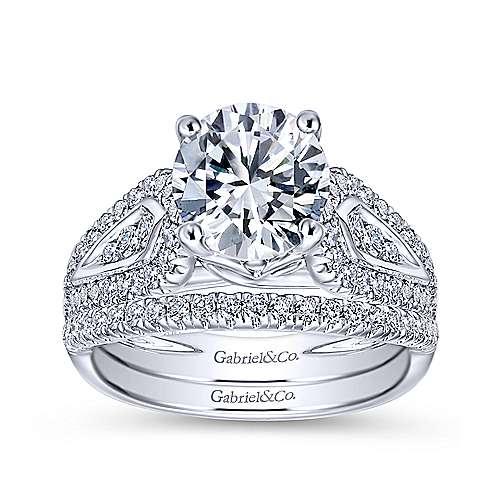 Nyvia 14k White Gold Round Straight Engagement Ring
