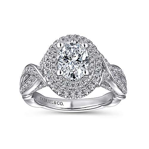 Odessa 14k White Gold Oval Double Halo Engagement Ring angle 5