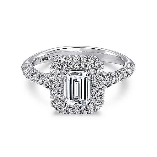 Gabriel - Odette 14k White Gold Emerald Cut Double Halo Engagement Ring