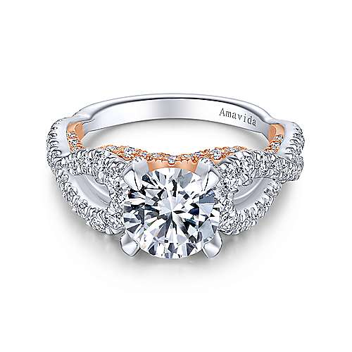 Gabriel - Ohana 18k White And Rose Gold Round Twisted Engagement Ring