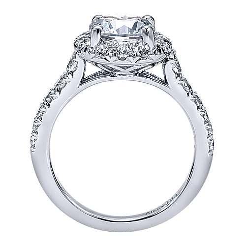 Ola 18k White Gold Round Halo Engagement Ring