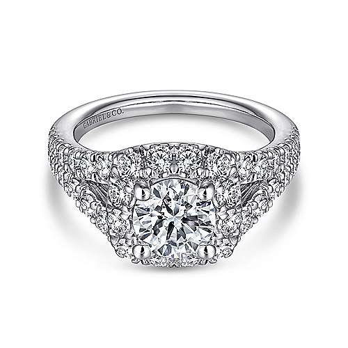 Ollie 14k White Gold Round Halo Engagement Ring angle 1