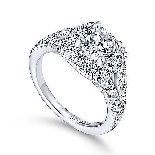 Ollie 14k White Gold Round Halo Engagement Ring angle 3