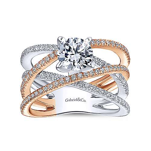 Ophelia 18k White And Rose Gold Round Split Shank Engagement Ring angle 5