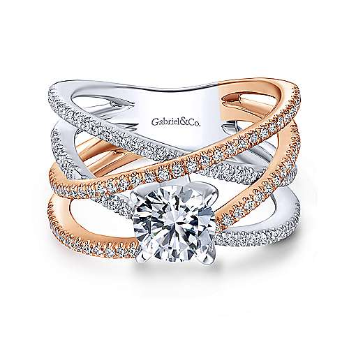 Ophelia 18k White And Rose Gold Round Twisted Engagement Ring angle 1