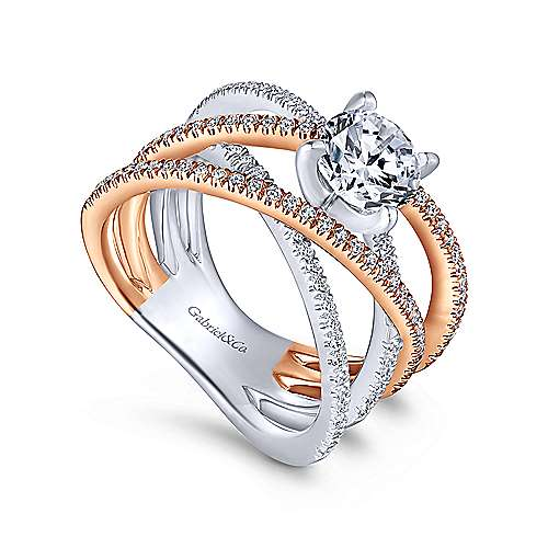 Ophelia 18k White And Rose Gold Round Twisted Engagement Ring angle 3