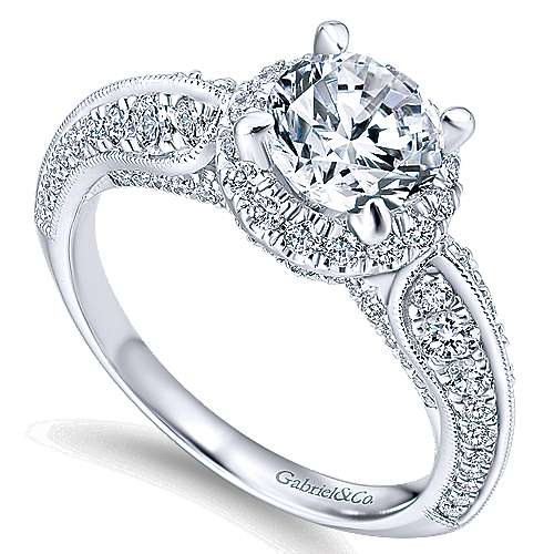 Orchid 14k White Gold Round Halo Engagement Ring