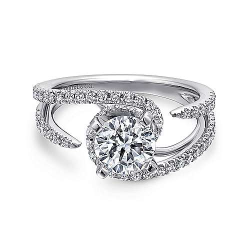Orion 14k White Gold Round Split Shank Engagement Ring angle 1