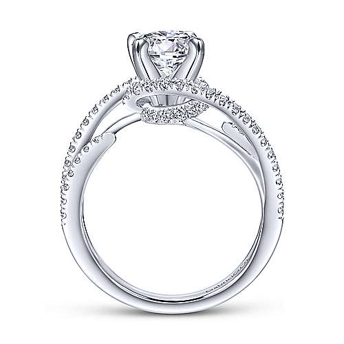 Orion 14k White Gold Round Split Shank Engagement Ring angle 2