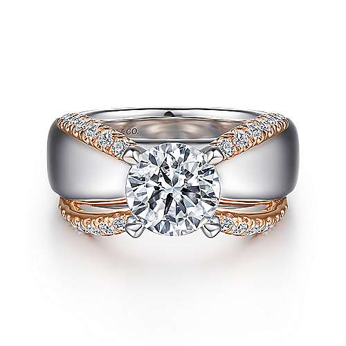 Gabriel - Orleans 14k White And Rose Gold Round Split Shank Engagement Ring