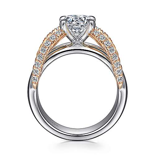 Orleans 14k White And Rose Gold Round Split Shank Engagement Ring angle 2
